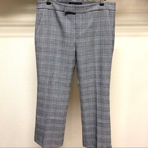 Zara Womens Checked Plaid Gray Cropped Trousers 8